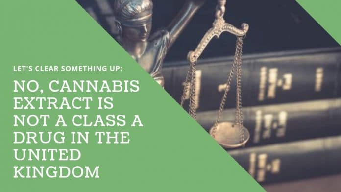 No Cannabis Extract is not class A drug in the United Kingdom